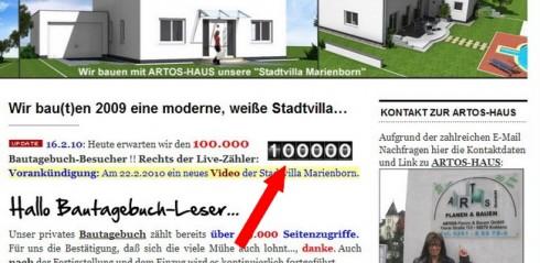 Am 16.2.2010 gegen 22.35 Uhr war es soweit, der 100.000 Besucher war da.
