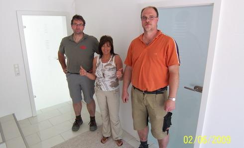 Bauherrin Anke mit dem Höhne Team Herr Busch und Herr Fülöp