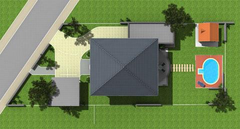 Gesamtansicht unseres Grundstückes, Hofeinfahrt, Carport, Pool und Nebengebäuden